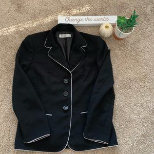 Tahari Black Blazer with White Trim Sz 10